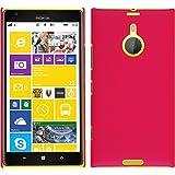 PhoneNatic Hülle kompatibel mit Nokia Lumia 1520 - Hülle pink gummiert Hard-case + 2 Schutzfolien