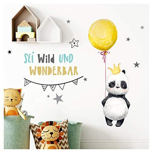 Little Deco Aufkleber Panda mit Spruch Sei wild I L - 144 x 90 cm (BxH) I Luftballon Krone Wandbilder Wandtattoo Kinderzimmer Tiere Deko Babyzimmer Kinder Sticker DL201