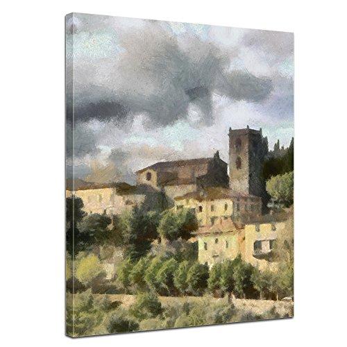 Bilderdepot24 Cuadros en Lienzo Lámina Reproducción Acuarela Toscana 50 x 60 cm - Listo tensa, Directamente Desde el Fabricante