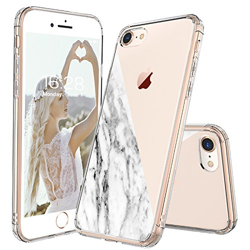 b8591fff5a iPhone 8 Case, iPhone 7 Case Clear, MOSNOVO Half White Marble Clear Design  Printed Transparent Hard Back Case with Soft TPU Bumper Protective Phone  Case ...