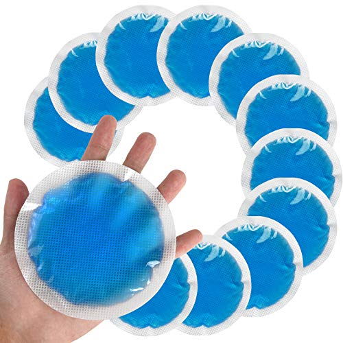 Round Reusable Gel Ice Pack with Cloth Backing, Soft Flexible Hot & Cold Pack for Kids Injuries, Wisdom Teeth, Breastfeeding, Tired Eyes, Sinus Relief, First Aid, Reduce Swelling or Soreness (12Count)