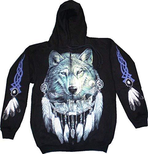 Evil Wear Herren Damen Kaputzen-Pullover schwarz mit Motiv Wolf Sweatshirt #14 : Größe: XL 4896