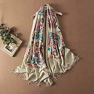 Winter Long Scarf Scarf Women's Winter Hand Embroidered Shawl Thicken Warm National Wind Embroidered Long Bib (Color : Navy Blue) Winter Soft Scarf (Color : Beige)