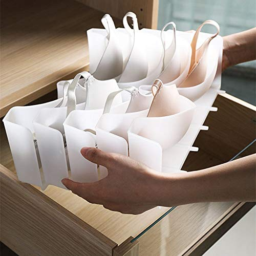 ZPTECH Drawer Organizers 6Pcs Set Underwear Boxes Stable Stackable Bra Clothes Storage Rack Wardrobe Drawer Divider Finishing Combination Bra Organizer (Color : Clear)