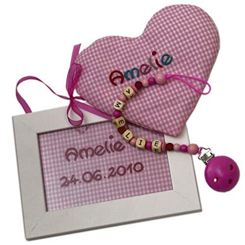 Geschenk-Set Kinderzimmer rosa, 3 teiliges Set mit Schnullerkette mit Herzkissen und Türschild, Set Baby Mädchen, Geschenke zur Taufe, Babygeschenke zur Geburt