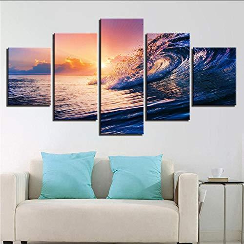 cmhai Canvas muurkunst foto's Hd afdrukken woonkamer decor 5 stuks zonsondergang zeegolven zeeland schilderij lijst oceaan strand poster 40 x 60 cm x 2 40 x 80 cm x 2 40 x 100 cm x 1