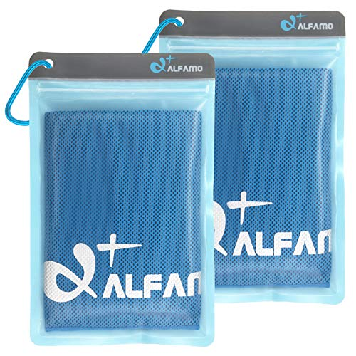 Alfamo Cooling Towels 2 Pack (Blue, M), Cold Towel, Microfiber Towel, Cooling Bandanas Soft Breathable Chilly Towel for Yoga Sport Gym, Workout Camping, Fitness, Running, Workout & More Activities