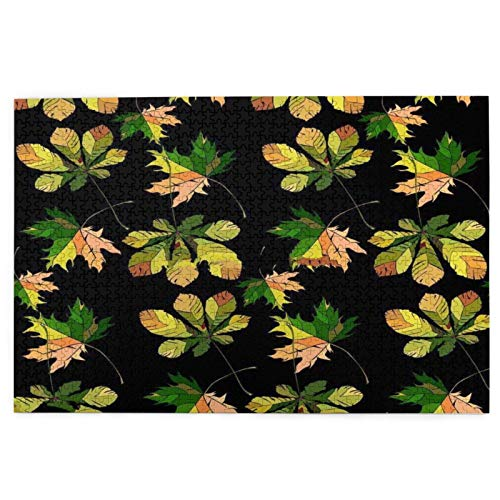 BohoMonos Jigsaw Puzzles 1000 Pieces,Beautiful Wonderful Graphic Bright Floral Herbal Autumn Green Chestnut Leaves And Chestnuts Pattern,Large Family Puzzle Game Artwork for Adults Teens
