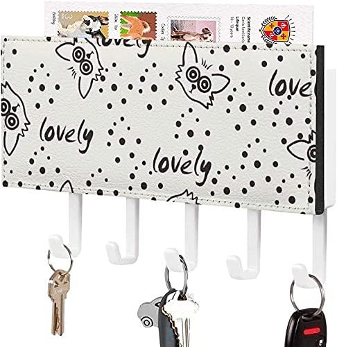 Soporte para llaves para gancho para llaves montado en la pared, patrón de puntos con caras de gato encantador, soporte para correo de entrada a la pared, organizador de llaves decorativo con 5 ganch