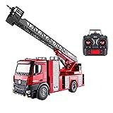 NAMFZX 1:14 Télécommande Camion De Pompier Échelle Électrique Élévateur Jouet De Voiture Modèle RC Véhicule D'ingénierie Rechargeable Établi De Pulvérisation d'eau Pivot De Construction Camion