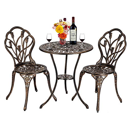 ONEP Three-piece Garden Furniture Set 2 Seats, Cast Aluminum Bronze Finish Hollow Out Tulip Pattern Outdoor Patio Bistro Table and Chair Set