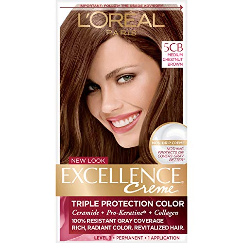 L'Oreal Paris Excellence Creme Permanent Hair Color, 5CB Medium Chestnut Brown, 100% Gray Coverage Hair Dye, Pack of 1