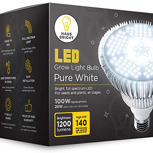 LED Grow Light Bulb - for Indoor Plants Full Spectrum Lamp | Seed Starting, House, Garden, Vegetable, Succulent, Hydroponic, Greenhouse & Medicinal Growing | 100W E27 Pure White by Haus Bright