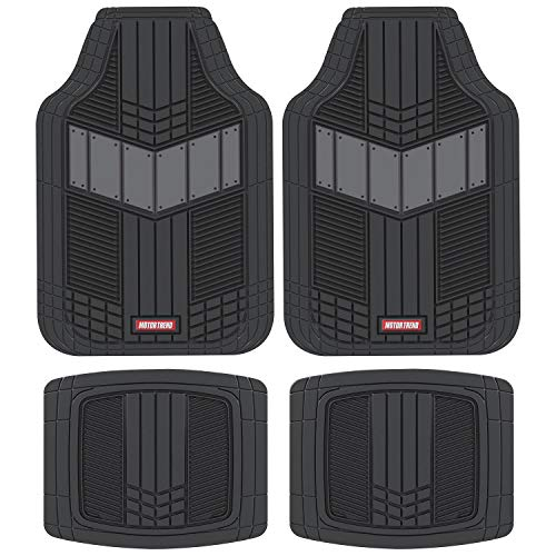 Motor Trend DualFlex All-Weather Rubber Floor Mats for Car, Truck, Van & SUV – Waterproof Front & Rear Liners with Drainage Channels & Two-Tone Sport Design