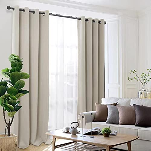 Thick Thermal Blackout Eyelet Ring Top Pair Curtains Panel Set of 2 Eyelets Curtains (CREAM, 46'x54'(117X137CM))