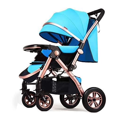 Zoe home Cochecito de bebé Muñecas Cochecito de bebé Cochecito de bebé Cochecito de Cuna Convertible Compacto Cochecito de bebé Ligero Plegable Viaje 4 Ruedas Paraguas Cochecito (Color : Sky Blue)