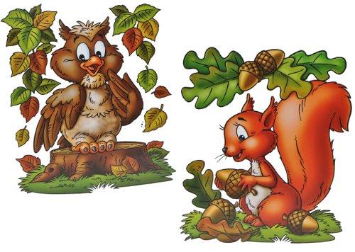 alles-meine.de GmbH 2 Stück: XL Fensterbilder Herbst - Eichhörnchen / Eule / Igel / Vogelscheuche - Sticker Fenstersticker / Aufkleber selbstklebend & statisch haftend - Fensterb..