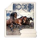 JNBGYAPS Coperta in Flanella di Pile Tre Cavalli Marroni Coperta PIC nic Coperta Divano Inverno Morbida Idea Regalo Peluche Addensare Coperta130x150cm