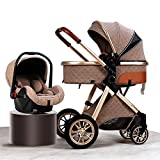 Luxury Pushchair Stroller 3 in 1 Baby Stroller Carriage Foldable High Landscape Anti-Shock Newborn Stroller for Toddlers with Organizer for Large Mommy Bag Rain Cover Mosquito Net Toy