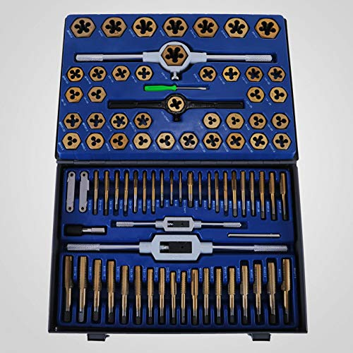 86-Piece Tap and Die Set Combination Tap Die Set Metric Tungstem Steel Titanium SAE Standard for Cutting