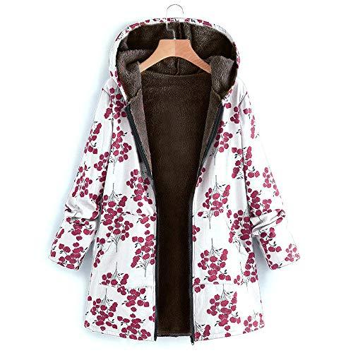 MINYING Manteaux 2021 Hiver Rabais Femmes Hiver Grande Taille Encapuchonné Manche Longue Molleton Vintage Dames Épais Impression Manteau Zipper Blousons Chic M-5XL