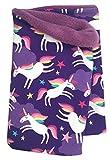 Wollhuhn Warmes Halstuch, Schlupfschal, Schal mit Einhörnern HAPPY UNICORN violett für Mädchen, Innenseite aus Fleece, 20180202