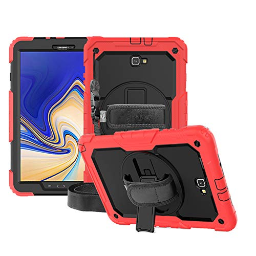 FANSONG Samsung Galaxy Tab A 10.1 Case 2018 SM-T580 T581 T585 [Screen Protector] with Rotating Stand Hand/Shoulder Strap Heavy Duty Protective Cover for Galaxy Tab A6 10.1-inch 2016 2018, Red