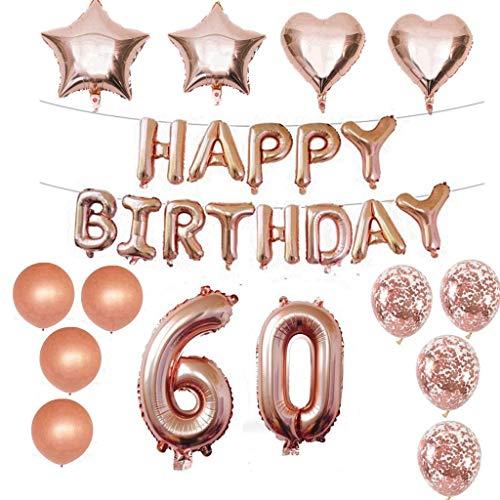 Crazy-m 60 Geburtstag Dekorationen Kit Folienballon 60 Geburtstag Dekorationen Rosegold für Mädchen Birthday Party Supplies Alles Gute zum Geburtstag Konfetti Happy Birthday 60 Buchstaben Banner,