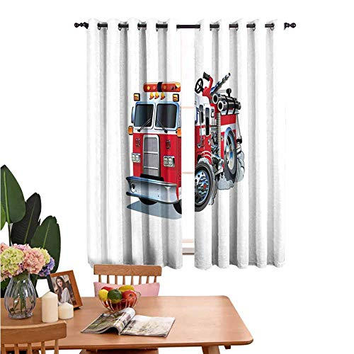 Curtains with Grommet Small Window Curtain Fire Brigade Vehicle Emergency Aid for Public Firefighter Transportation Themed Lorry Grey Red for Home Decoration Set of 2 Panels W55 x L62