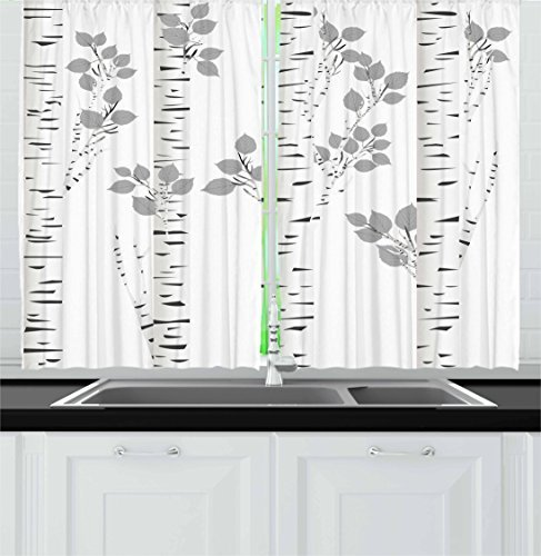 """Ambesonne Birch Tree Kitchen Curtains, White Branches with Leaves Autumn Nature Forest Inspired Image Print, Window Drapes 2 Panel Set for Kitchen Cafe Decor, 55"""" X 39"""", White Grey"""