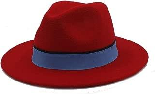 SHENTIANWEI Men Women Winter Fedora Hat with Blue Cloth Belt Pop Wide Brim Church Fascinator Hat Casual Wild Jazz Hat Size 56-58CM