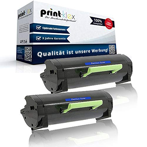 2x Cartuchos Compatibles para Lexmark mx317dn mx417de mx517de mx617de 51b2000Negro Black–Office Line Serie