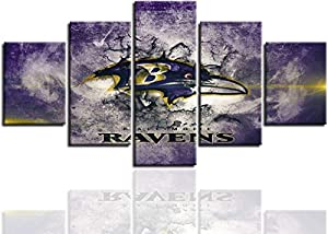 Yaweya Canvas Art Wall Painting Poster Living Room Wall Decor Pictures Sports Football Home Game Room Decoration Prints Framed Paintings Ready to Hang(60''Wx32''H) (Baltimore Ravens-02)