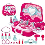 Children's Play House Toy Simulation Suitcase Set Toy Lipstick Hair Dryer Necklace Ring Cosplay Girl New Year Gift