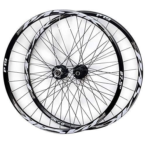 ZNND 26'/27,5'/29' Bicicleta Montaña Juego Ruedas Llanta Aleación Doble Pared Freno Disco Casete Cubo Liberación Rápida 7/8/9/10/11 Velocidad 32 Hoyos (Color : Black Hub Silver Logo, Size : 29IN)