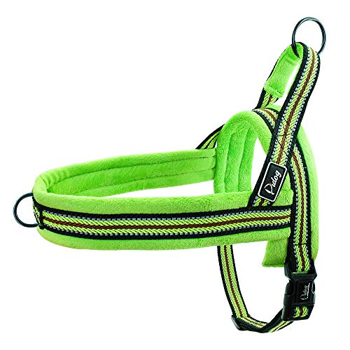 Didog Soft Flannel Padded Dog Vest Harness, Escape Proof/Quick Fit Reflective Dog Strap Harness,Easy for Walking Training (XS:Chest 15-18