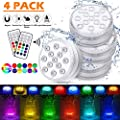 4 Pack Submersible LED Lights Waterproof Bathtub Lights with 164ft RF Remote, 14 Suction Cups, Magnets, 13LED 16Color Changing Underwater Shower LED Lights for Ponds, Pool, Boat, Hot Tub (4 pack)