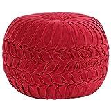 UnfadeMemory Puff Redondo Salon con Diseño Bata,Taburete Puf,Puf Relleno,Terciopelo de Algodón,40x30cm (Rojo)