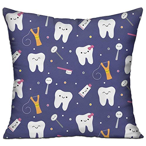 Krystal_Magic Pillowcases Square Pillow Covers - Blue Dental Fabric Toothpaste Cushion Case for Sofa Bedroom Car - Inserts are Not Included - 18' X 18'