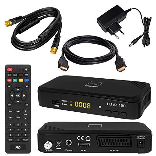Ricevitore SATELLITARE + cavo SAT 7,5 m nero + cavo HDMI Set DVB-S / S2 Ricevitore satellitare di...