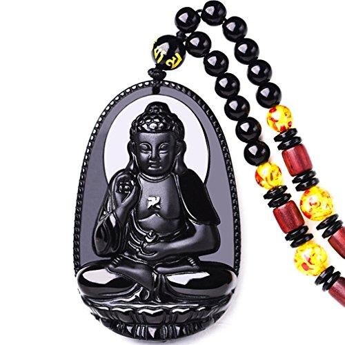 Buddha Pendant Necklace Bodhisattva Amulet Talisman Made of Obsidian Gemstone