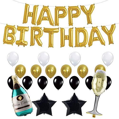 SZHWLKJ (Gold Set Appy Geburtstagsbrief Aluminiumfolie Ballons Partei Hochzeitsdekor