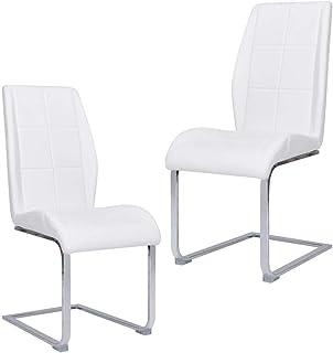 vidaXL 2X Sillas de Comedor Voladizas Asiento Mobiliario Muebles Cocina Salón Sala de Estar Escritorio Acolchado Respaldo de Tela Blanca