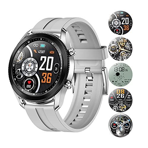 HQPCAHL Smartwatch Reloj Inteligente Hombre, Fitness Tracker con Telefonía Bluetooth Monitor de Nivel SpO2 Monitorización de Frecuencia Cardíaca Sueño Caloría, Pulsera Actividad para Android iOS,Gris