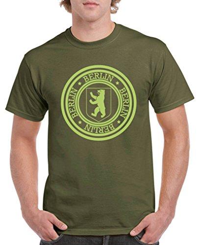 Comedy Shirts - Stadtwappen Berlin - Herren T-Shirt - Oliv/Grün Gr. XL