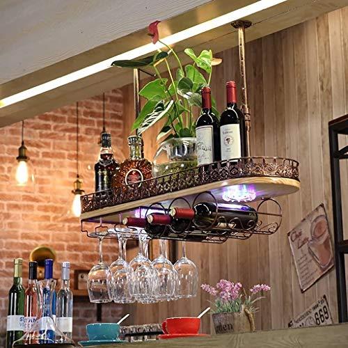 Red Wine Rack Bar Wine Rack Wine Glass Frame Hanging Retro Goblets Upside Down Wine Hangers with Lights Ceiling Wine Holder Storage rack (Size : 602812cm)