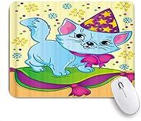 マウスパッド 個性的 おしゃれ 柔軟 かわいい ゴム製裏面 ゲーミングマウスパッド PC ノートパソコン オフィス用 デスクマット 滑り止め 耐久性が良い おもしろいパターン (子供のための塗り絵とクリスマスキャップの猫の漫画カラフルなスノーフレーク)