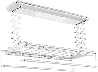 ROMX Estante de Secado de Ropa   Rack de Secado de lavandería de Metal Plegable   Tendedero Eléctrico   Techo de Secado Rack elevación automática con iluminación LED, Control Remoto