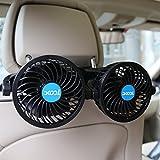 XOOL カーファン、SUVのための無段階速度規制、RV、車でエア冷却ファン後席乗員ポータブルカーシートファンヘッドレスト360度回転可能な後部座席カーファン12V用電気自動車ファン
