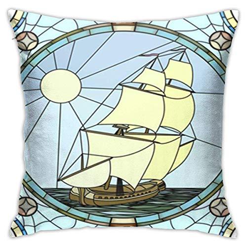 Caonm Kissenbezüge 45x45cm Kissenbezüge Mosaik Große Zellen von Segelschiffen Das 17. Jahrhundert